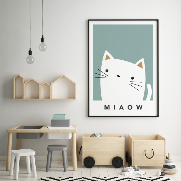 white cat cheeky teal framed