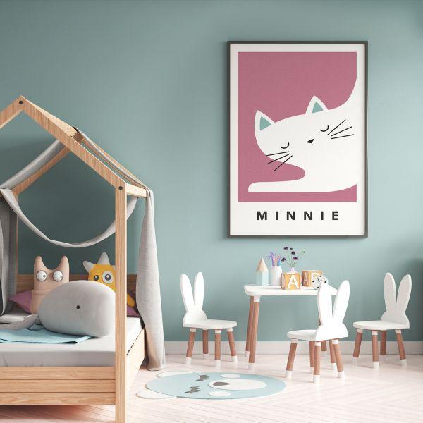 white cat sleepy framed pink