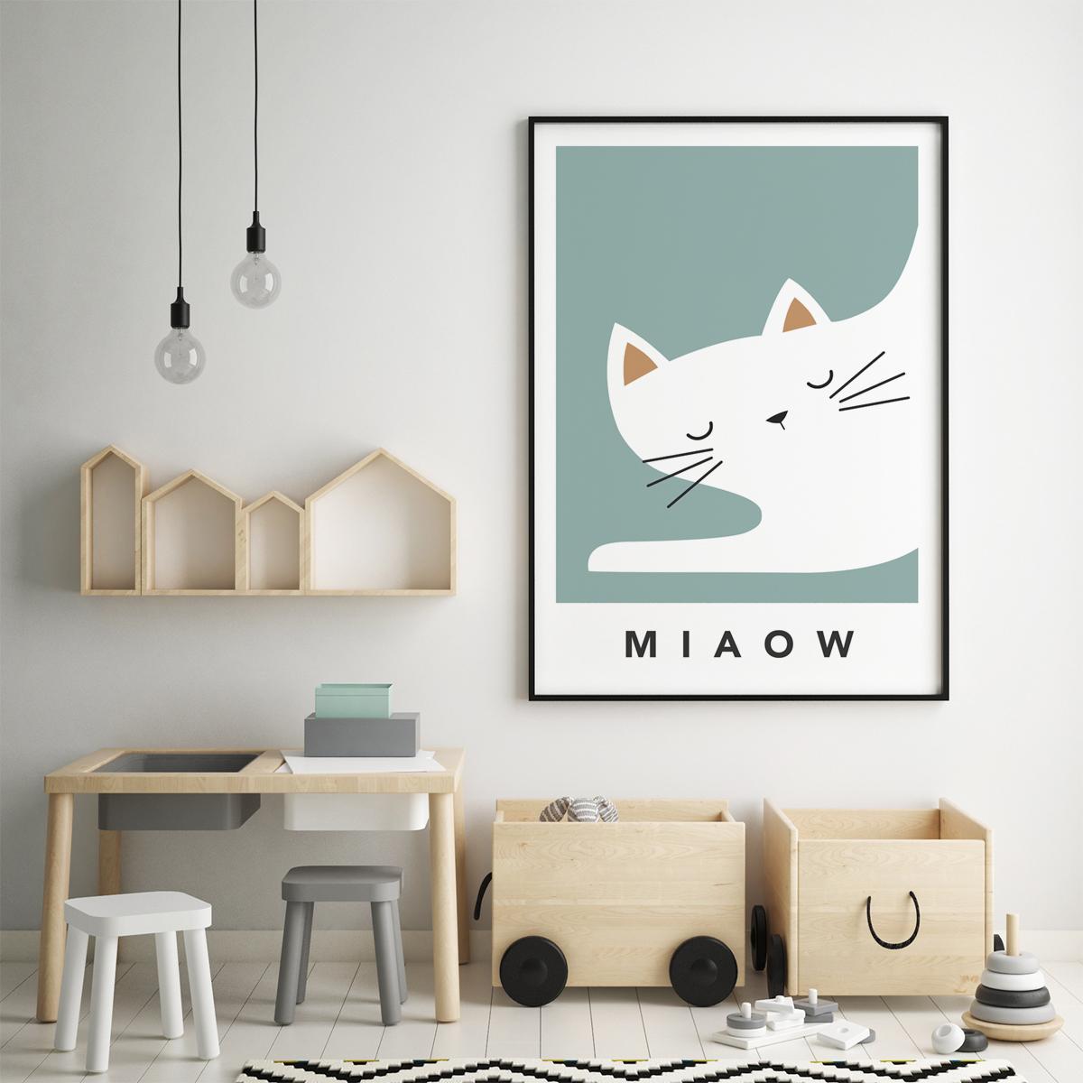 white cat sleepy framed teal