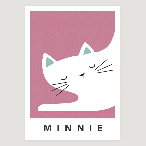 white cat sleepy pink