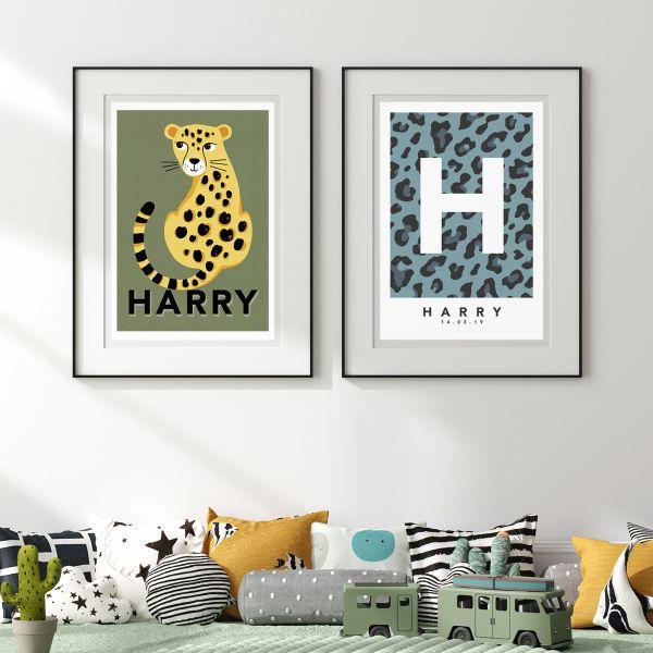 Leopard blue pair single framed