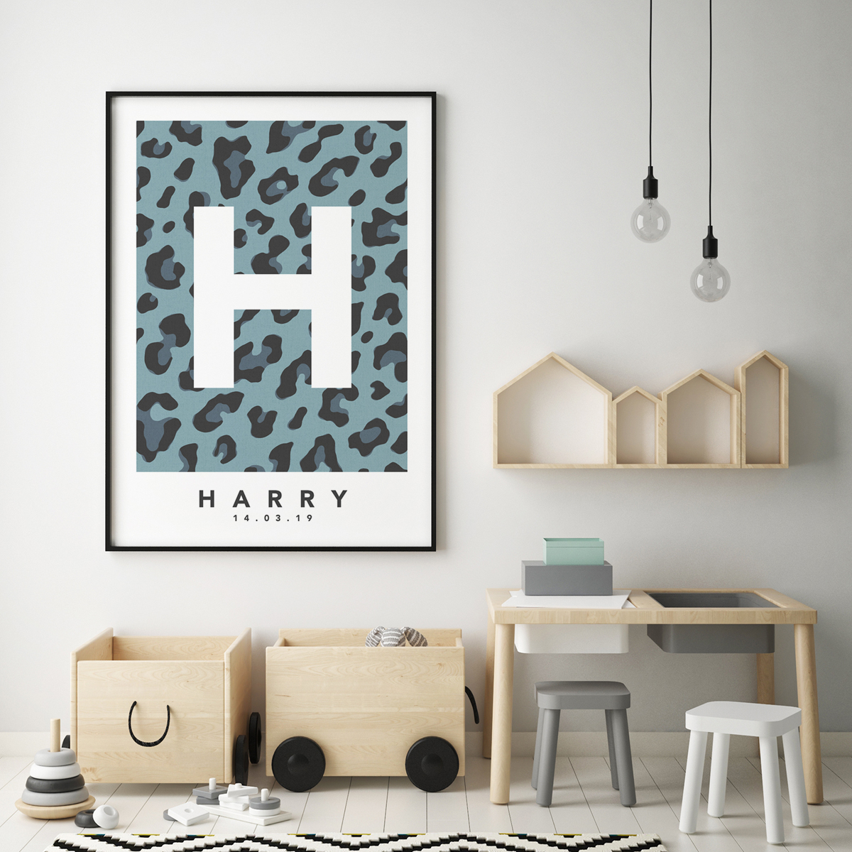 Leopard blue single framed