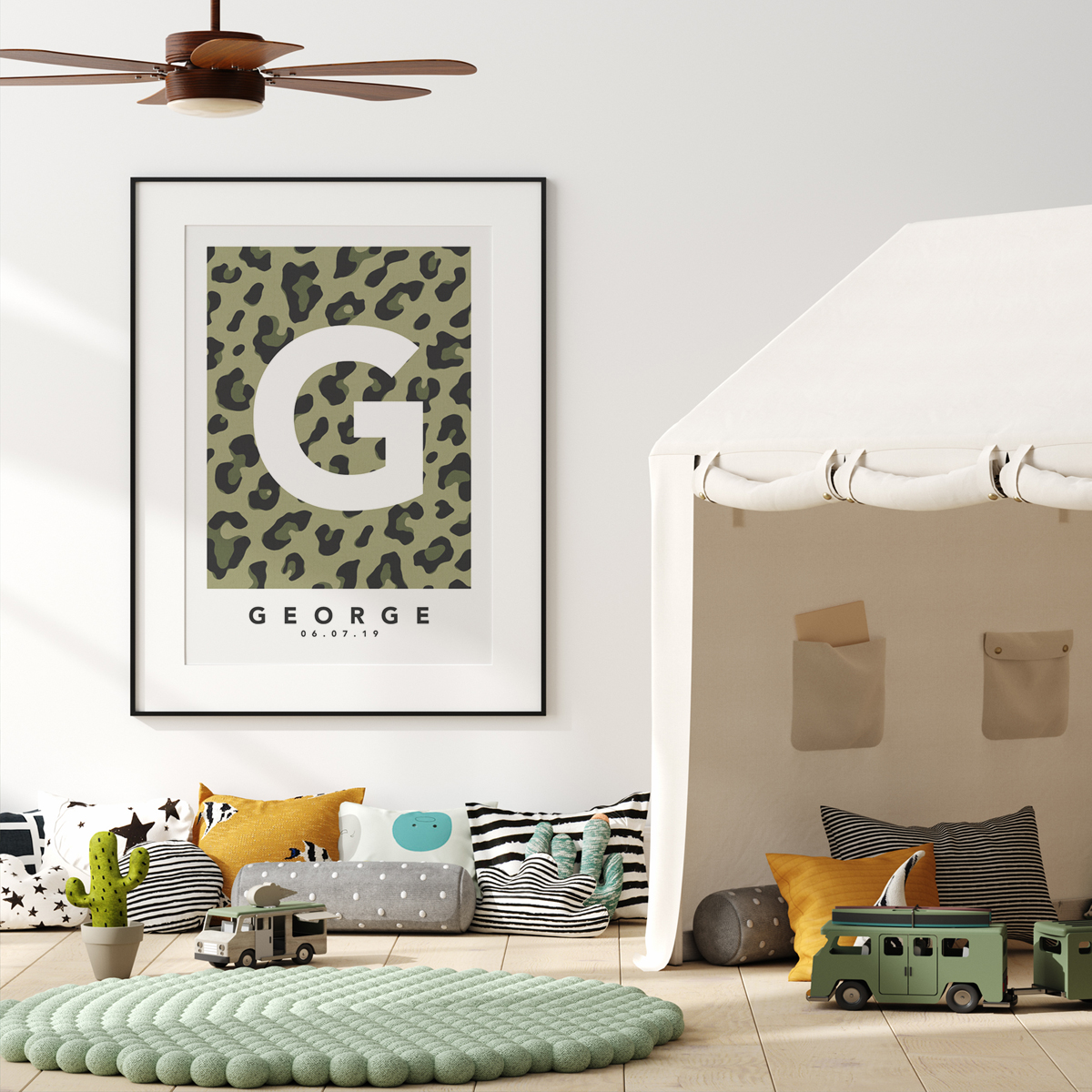 Leopard khaki single framed