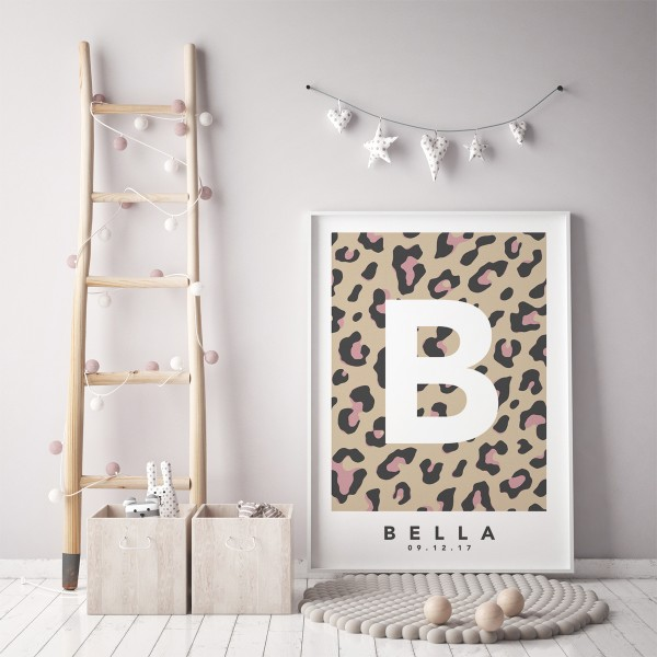 Leopard natural pink single framed
