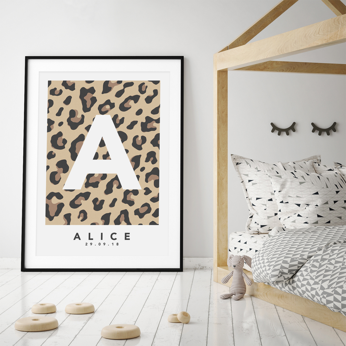 Leopard natural single framed